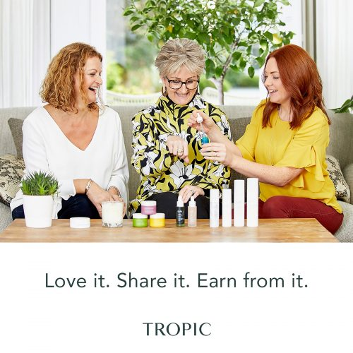 www.penelopedunlop.com - it all started with a new job and a gift - an image where a Tropic Ambassador is showing two customers some products